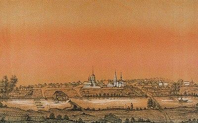 «Вид Богоявленской слободы Мстёры». Худож. И. Голышов. Литография. 1860 г. (РГБИ)