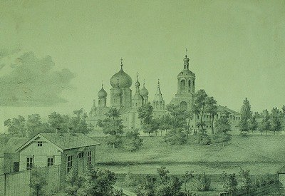 Боголюбский мон-рь. Литография. 1875 г. (ГИМ)