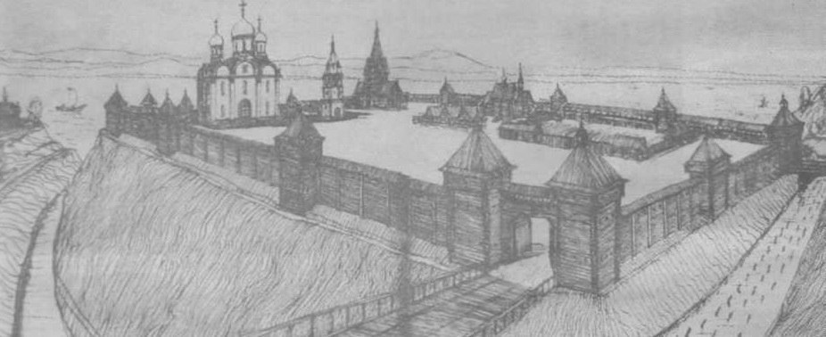 Вид муромского кремля. Реконструкция Н. Беспалова