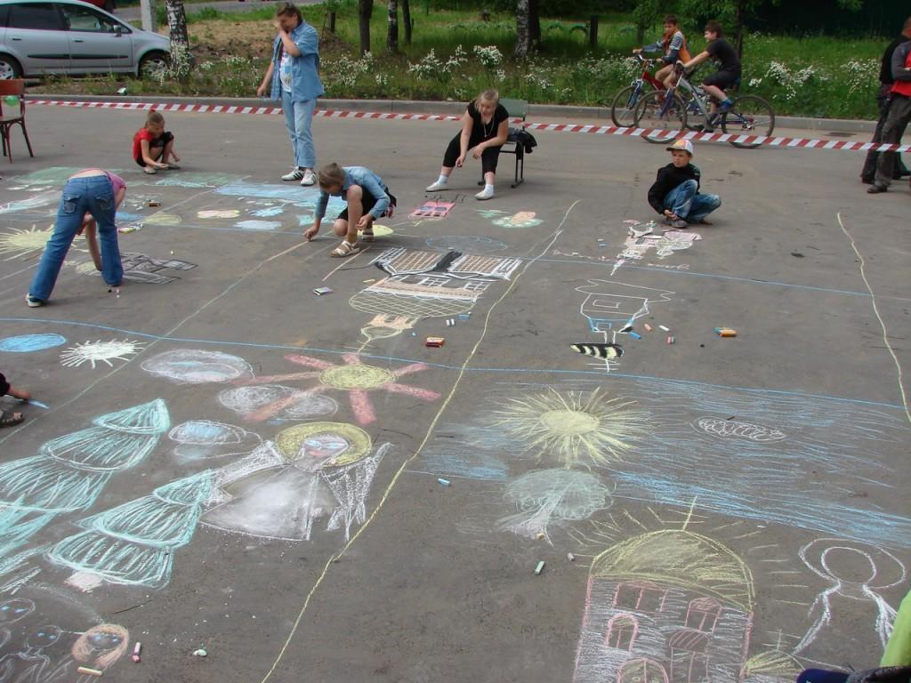 Конкурс детского рисунка на асфальте 07