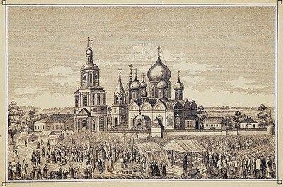 Крестный ход из Боголюбова мон-ря во Владимир. Литография. 1880 г.