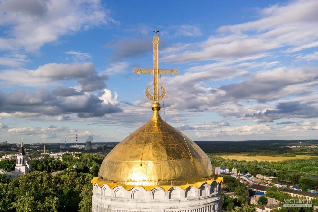 Птичка на вершине креста Дмитриевского собора 01