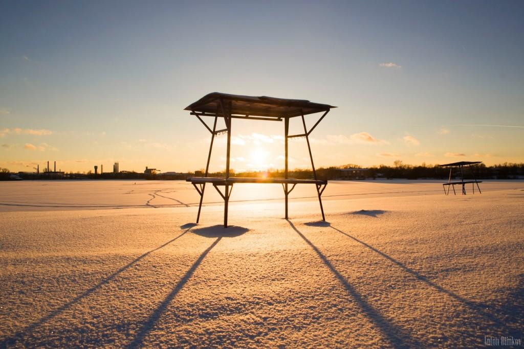Восход в Гусь-Хрустальном. Снежный пляж