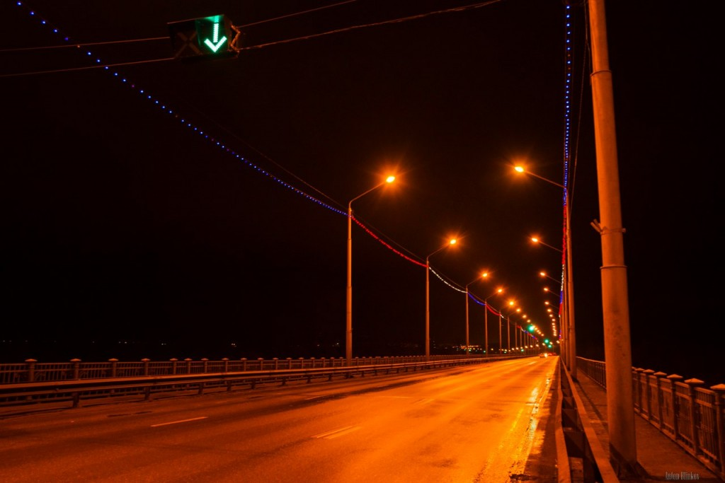 Мост через р. Клязьма во Владимире в вечернее время