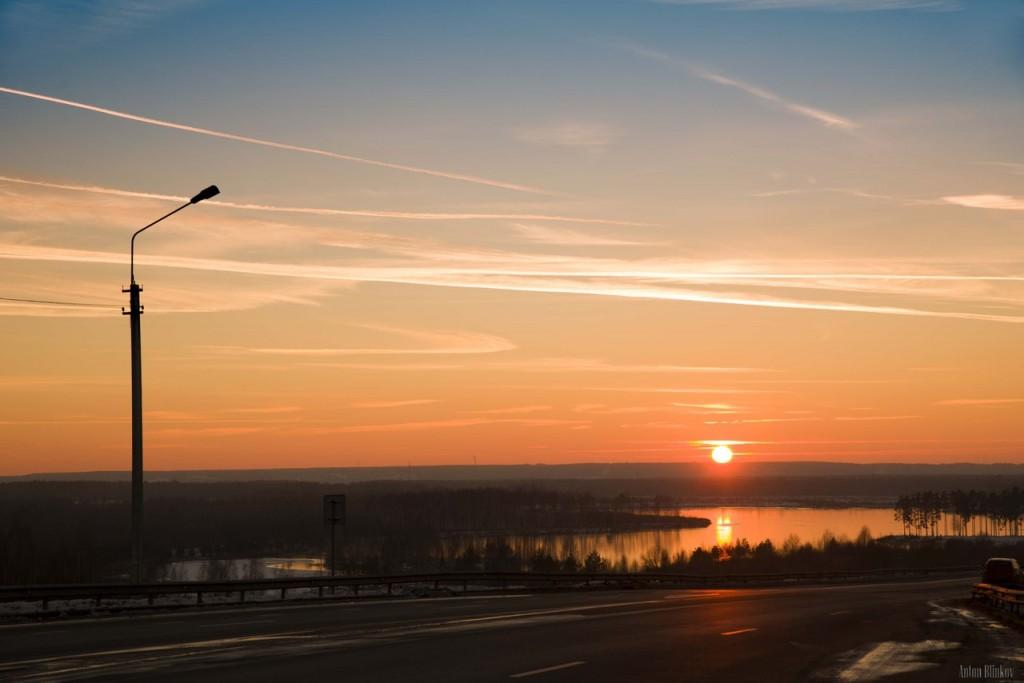 Ноябрьский закат над Владимирским карьером