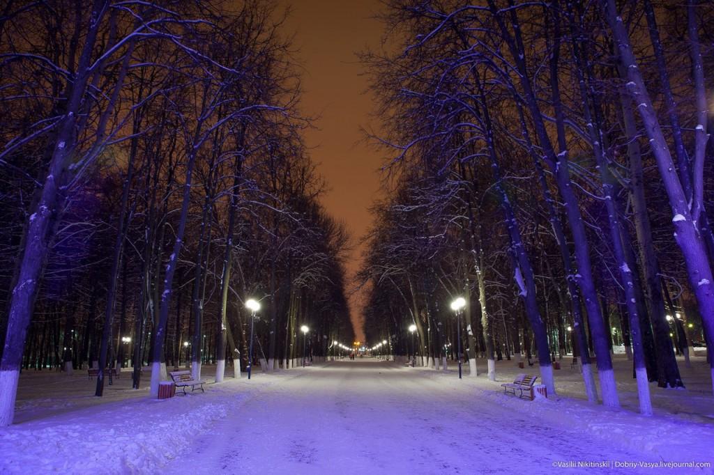 Прогулка по зимнему центральному парку Владимира 01