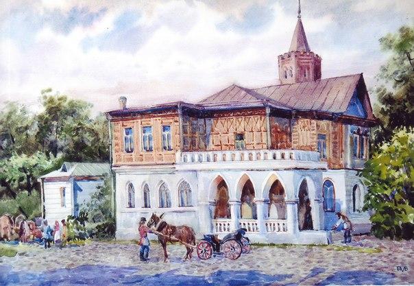 Вязники, дом Сенькова. Акварель Б.М. Вифлеемского
