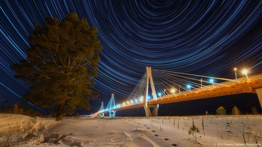Звездные следы над Муромским мостом от Евгения Зайцева