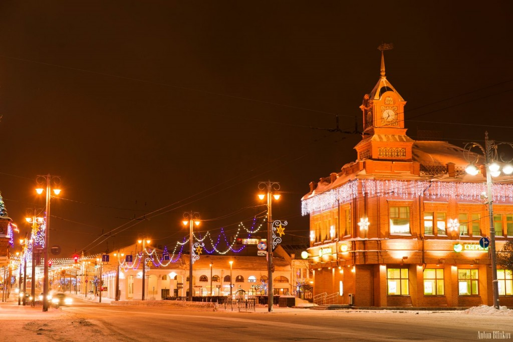 Зимний вечер в центре Владимира