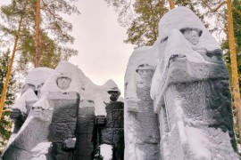 Памятник на Вербовском в зимней шубке