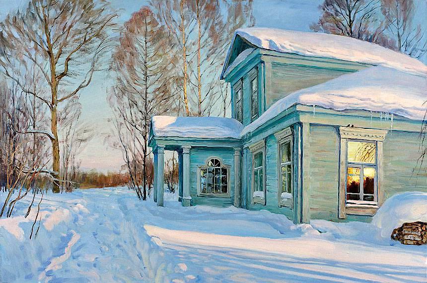 Русская зима в работах художника Олега Молчанова 02