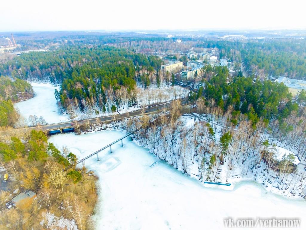 Вербовский мост и старая часть поселка с высоты
