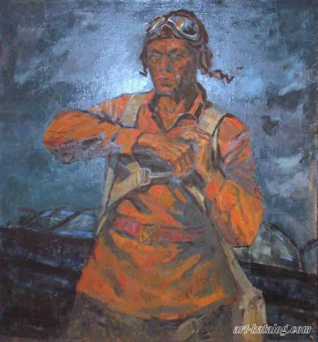 Картина Герой Советского Союза Першутов перед боевым вылетом