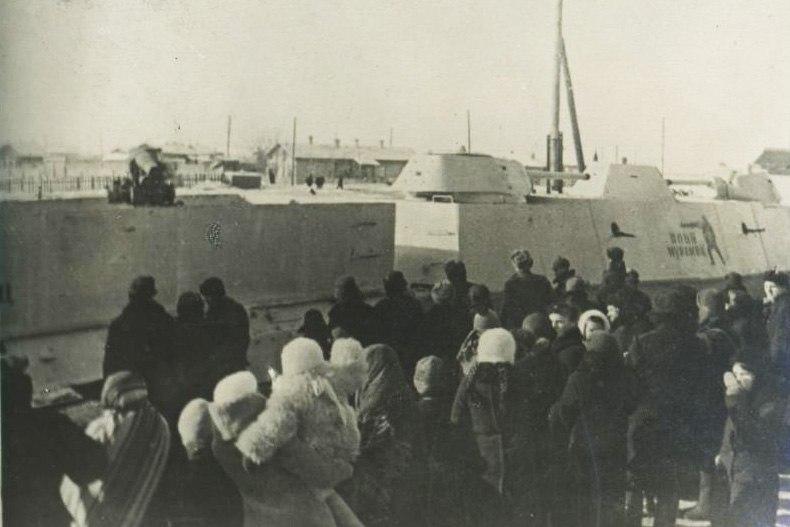 Проводы на фронт бронепоезда Илья Муромец, февраль 1942 г.