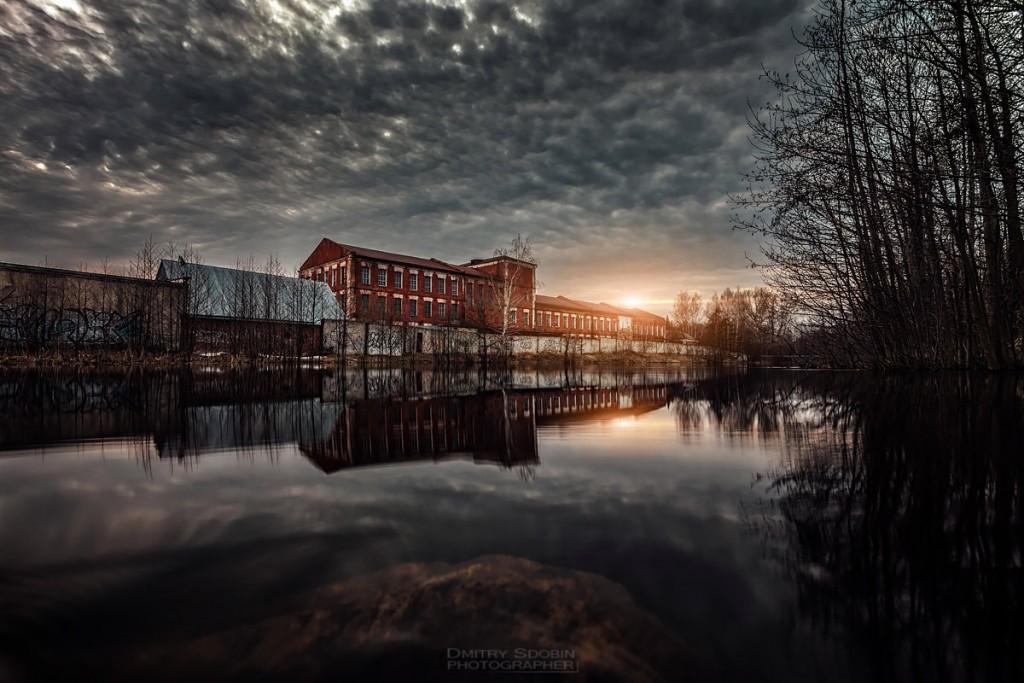 Фабрика, закат, р. Унжа