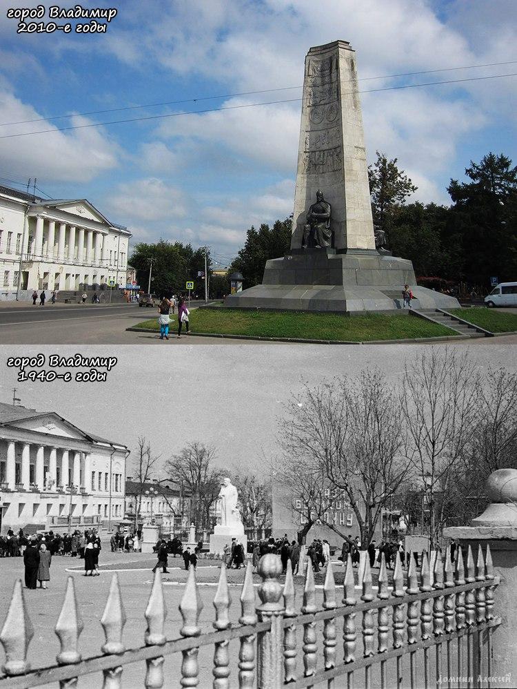 На месте монумента в честь 850-летия Владимира находилась скульптура И.В. Сталина