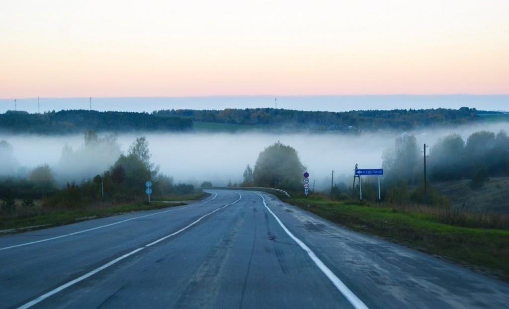 Трасса Р-75, около 6 утра. Поворот на Куделино, Собинский район