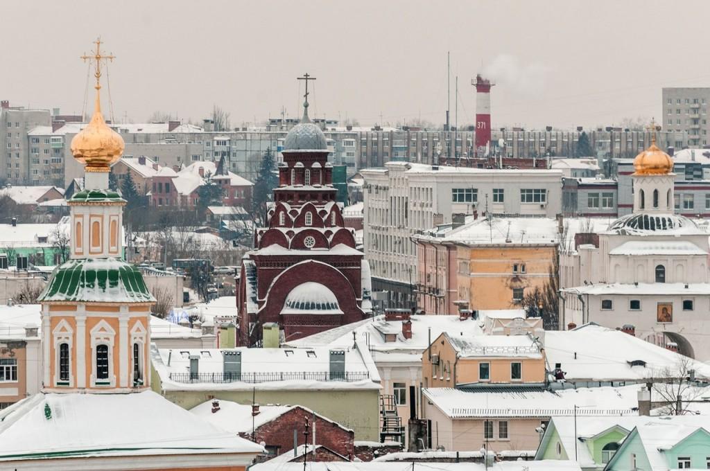 Вид на снежный Владимир с колокольни Успенского собора 07