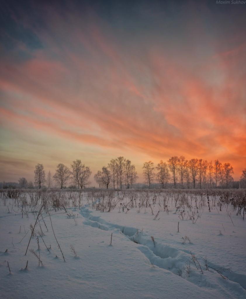 Зимний закат в Вязниковском районе 02