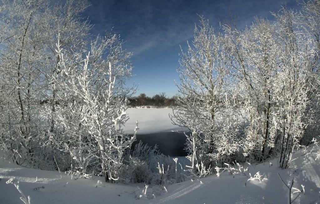 Погода под -30, а река Клязьма под городом Ковровом разморозилась 04
