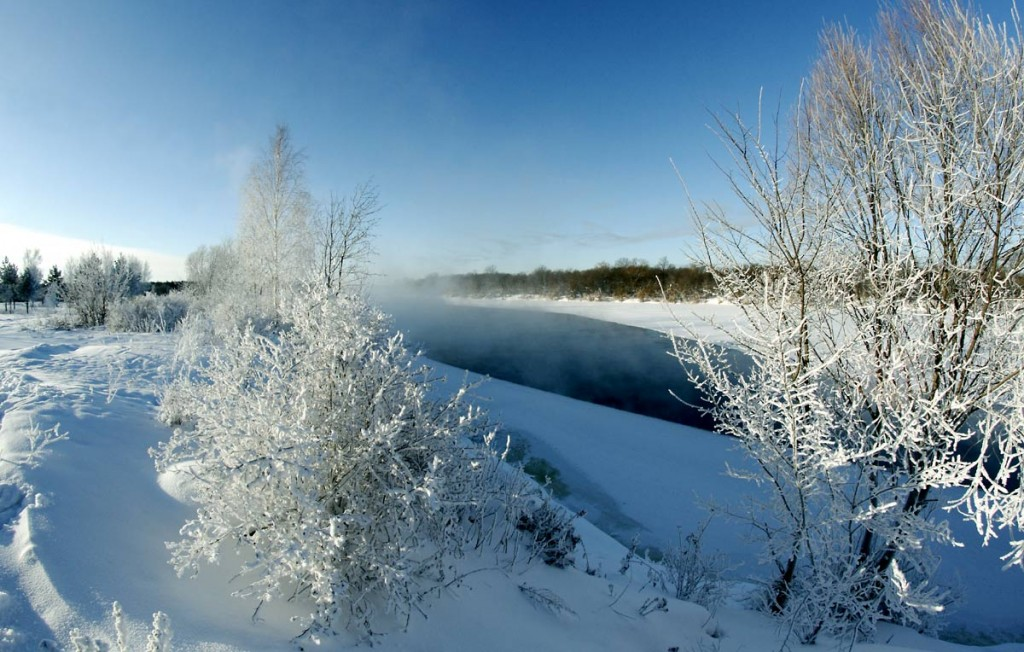 Погода под -30, а река Клязьма под городом Ковровом разморозилась 05