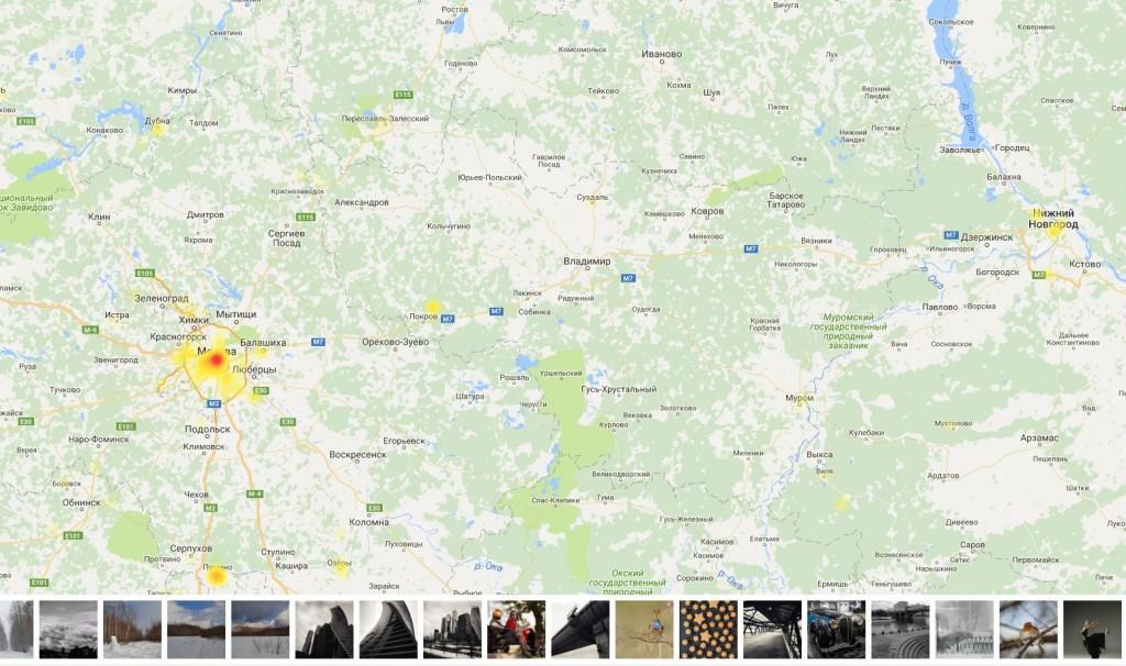 Интерактивная карта самых популярных мест для фотосъемки