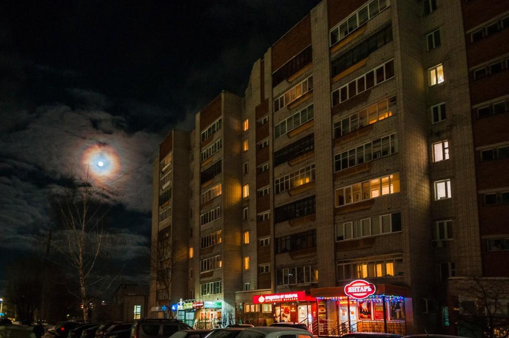 Полнолуние и и гало вокруг Луны (пятница) 02