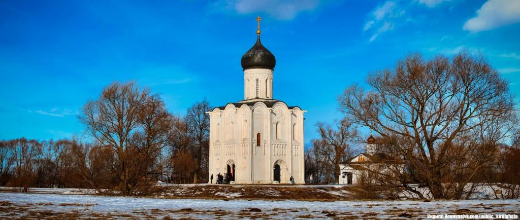 Боголюбовский луг и церковь Покрова на Нерли в последние, солнечные февральские дни уходящей зимы 03