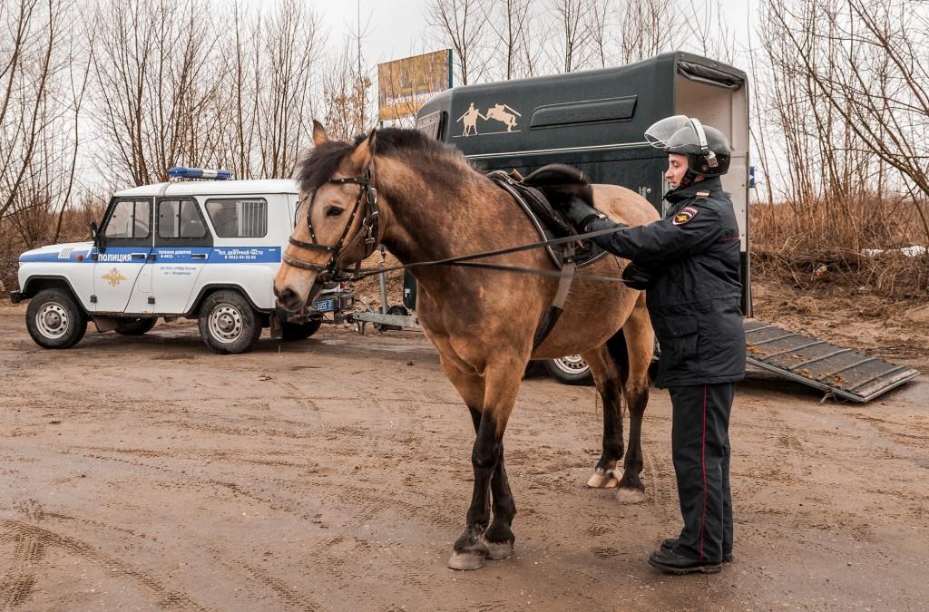 Конная полиция, патрулирование СНТ (апрель, Владимир) 01