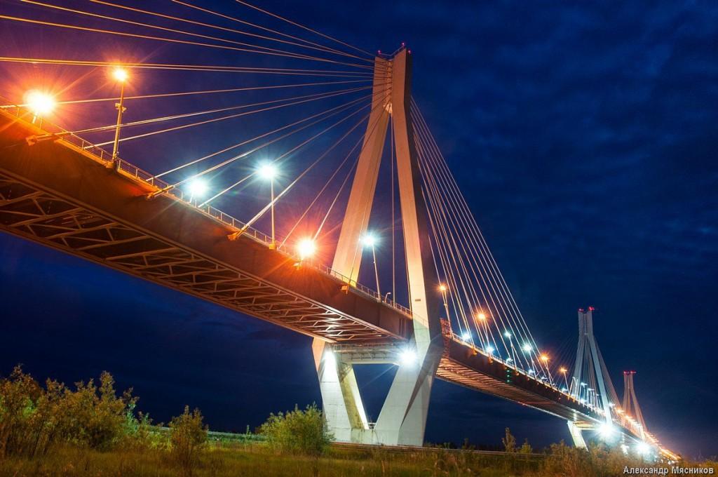 Ночные огни муромского моста 01