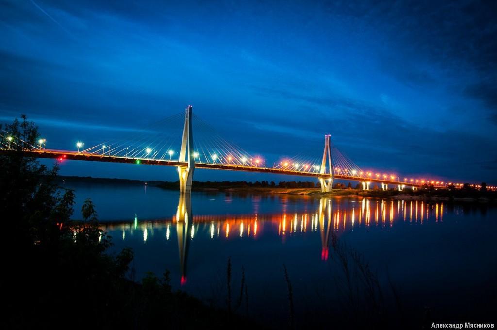 Ночные огни муромского моста 02
