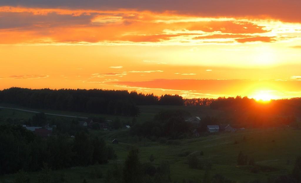 деревня Тартышево на закате, Юрьев-Польский р-н