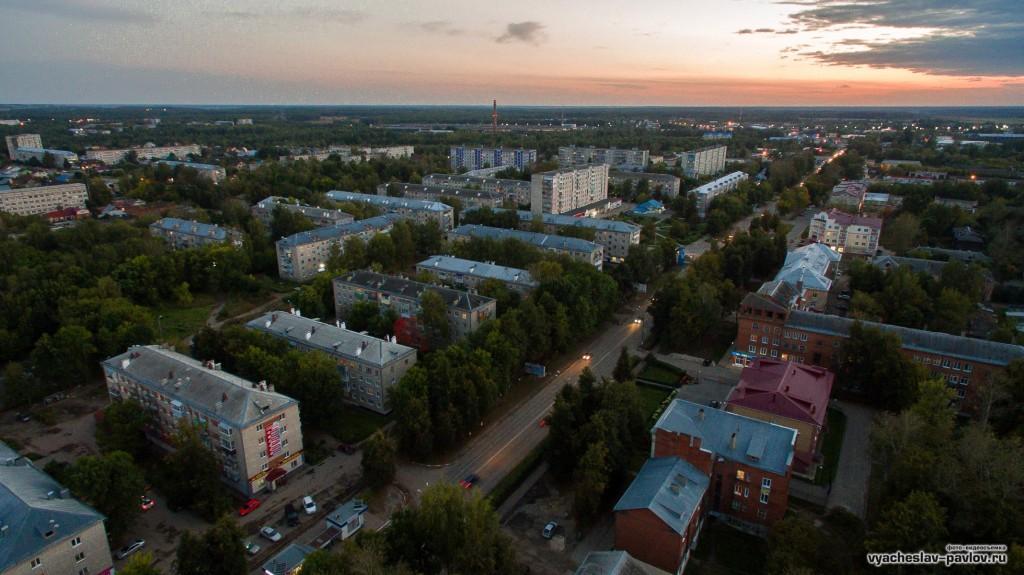 Вязники, улица Ленина с высоты