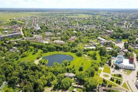 Парк культуры и отдыха и Соборная площадь в Александрове с высоты птичьего полета.