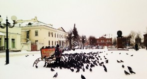 Киржач после снегопада. Центральная площадь. Сего дня (26 декабря 17г)