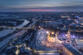 Зимний ночной Владимир с высоты (январь 2018)