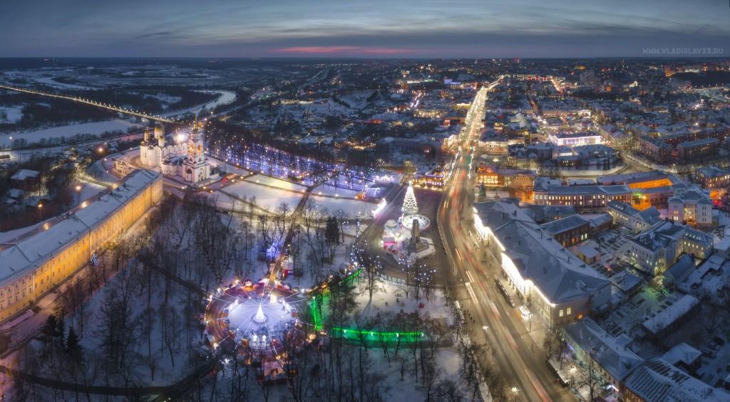 Зимний ночной Владимир с высоты (январь 2018) 03