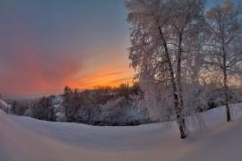 Неожиданный, красивый, почти пламенный закат во Владимире (январь 2018)