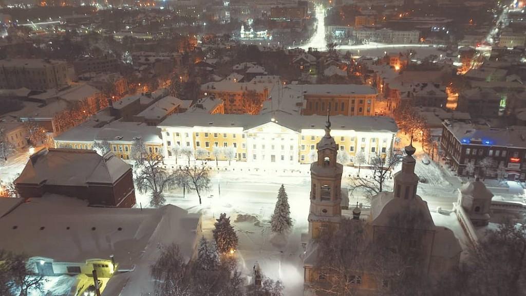 Ночной Владимир с высоты, начало марта 2018