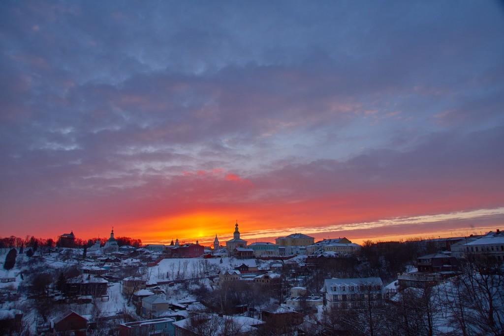 Апельсиновый закат над Владимиром 03