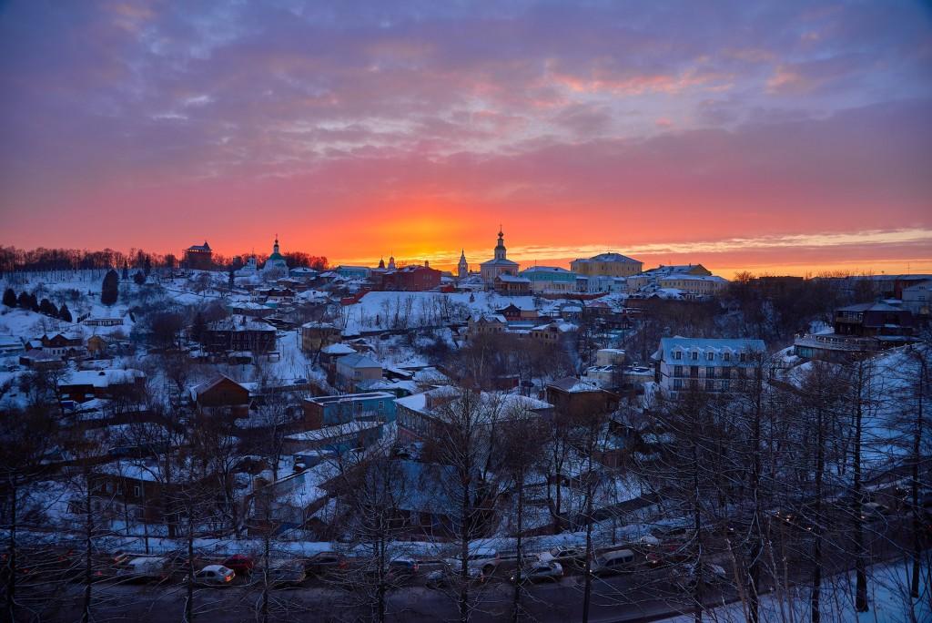 Апельсиновый закат над Владимиром 05