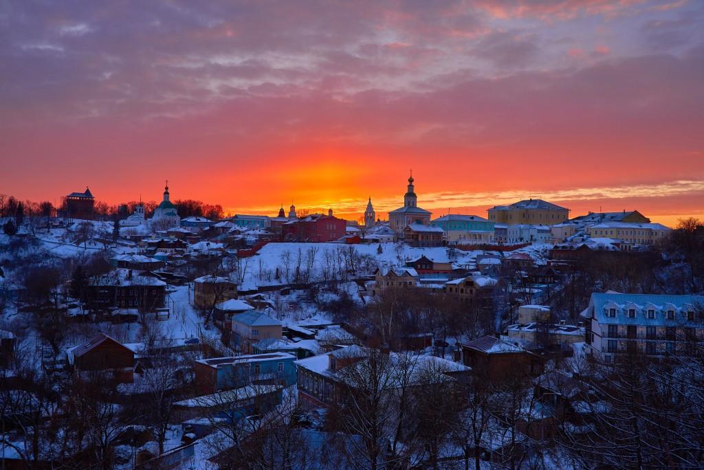 Апельсиновый закат над Владимиром 06