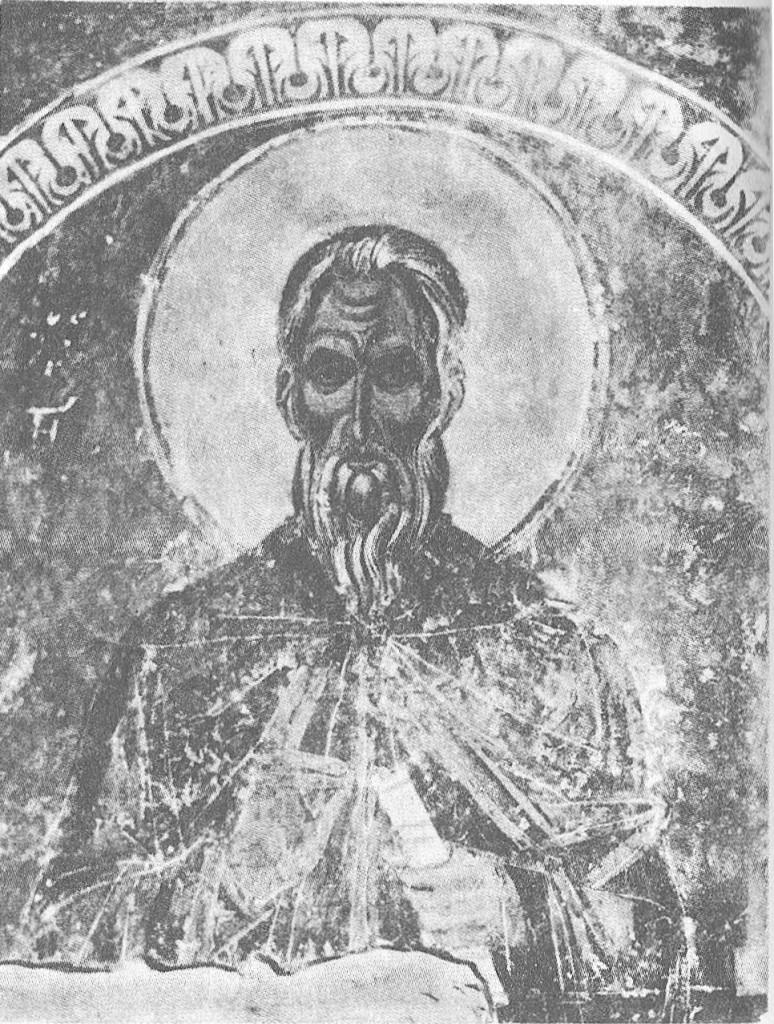 Неизвестный святой. Фрагмент фрески 1233 года в диаконнике суздальского собора