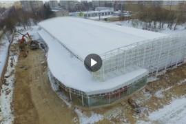 Строящийся ледовый дворец во Владимире с высоты птичьего полета