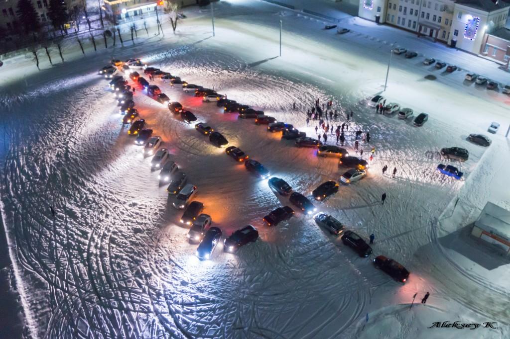 Автомобильный флешмоб - Новогодняя ёлка в Коврове 01