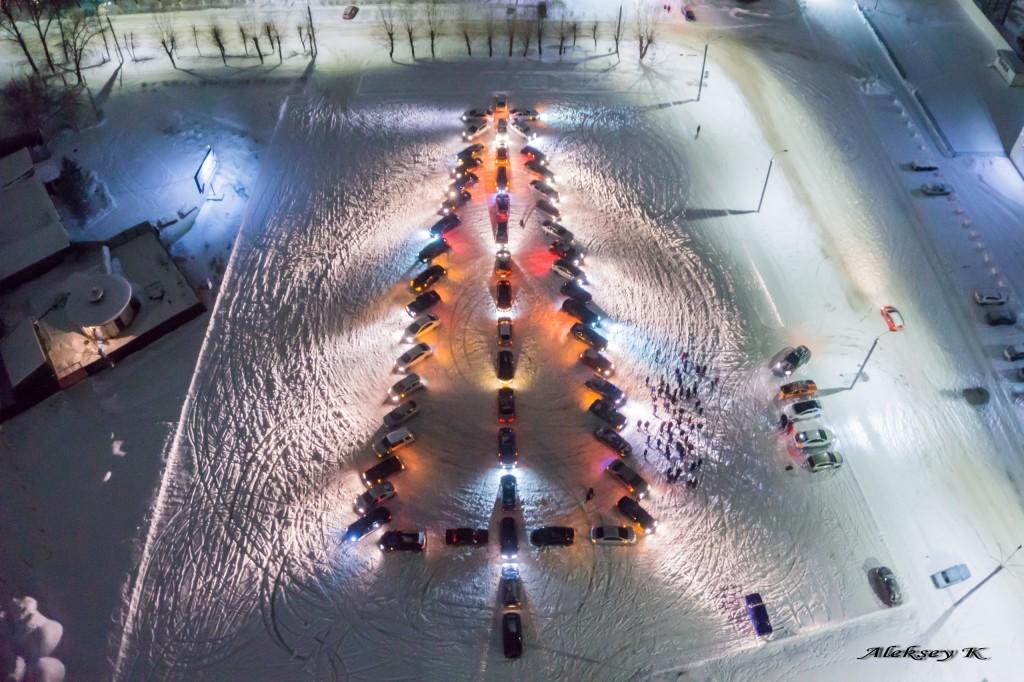 Автомобильный флешмоб - Новогодняя ёлка в Коврове 02