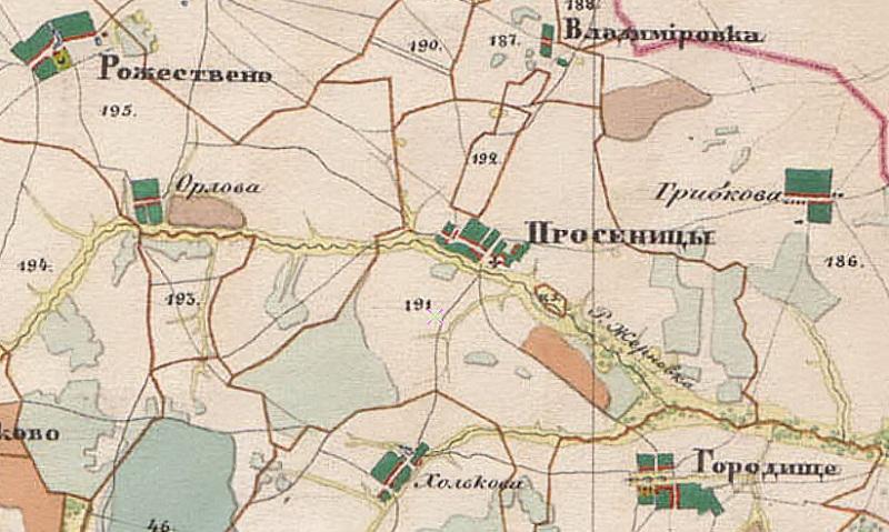 Фрагмент карты Менде Владимирской губернии 1850 года