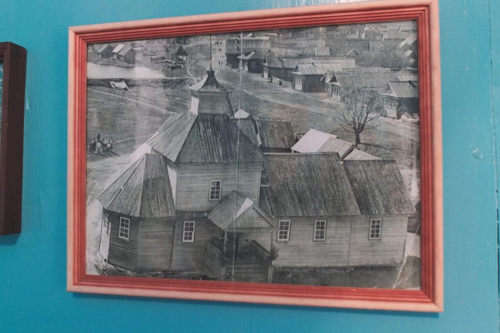 Фотография старого деревянного храма с. Денятино