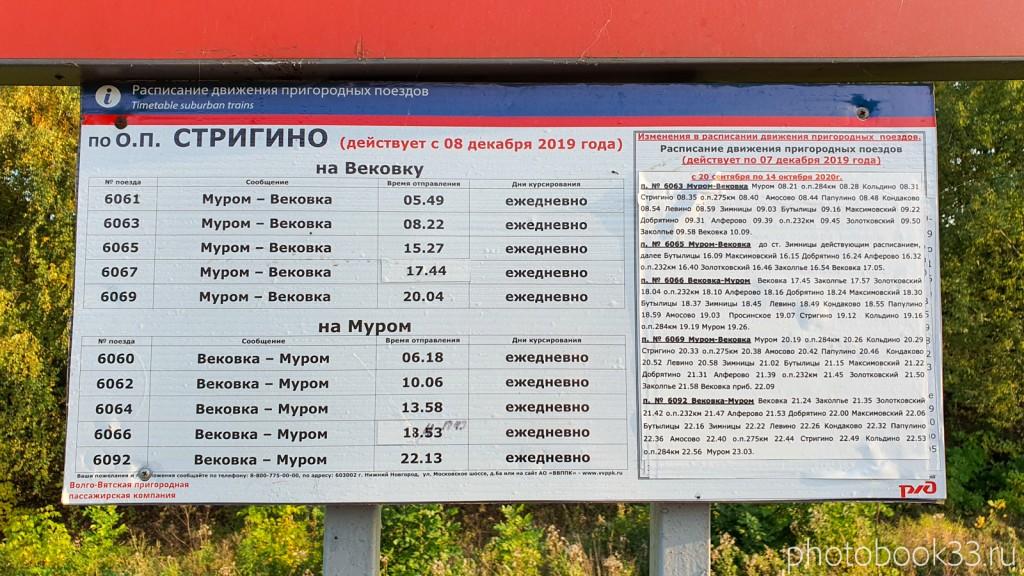 108 Расписание электричек Стригино, Муромский район